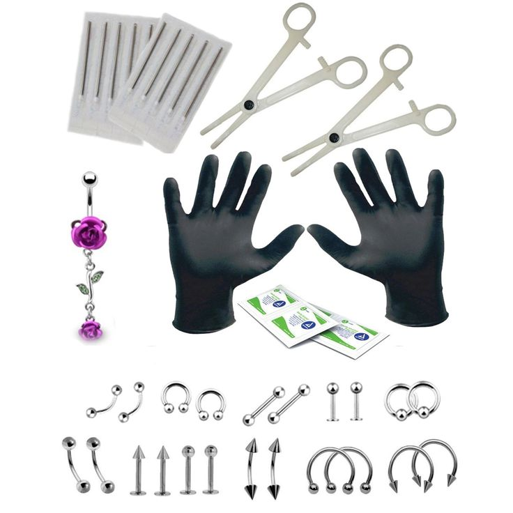 BodyJ4You Body Piercing Kit Anchor Ring Tongue Tragus Ear Eyebrow Nipple Lip 14G Jewelry Set 36 Pieces