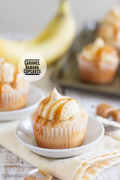 Caramel Banana Cupcakes baked with a caramel surprise inside! Recipe on Taste and Tell