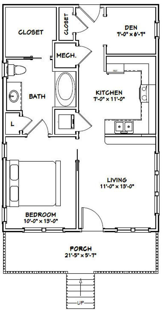 22x32 House 1 Bedroom 1 Bath 704 Sq Ft Pdf Floor Plan Etsy Guest House Plans Tiny House Floor Plans Small House Floor Plans