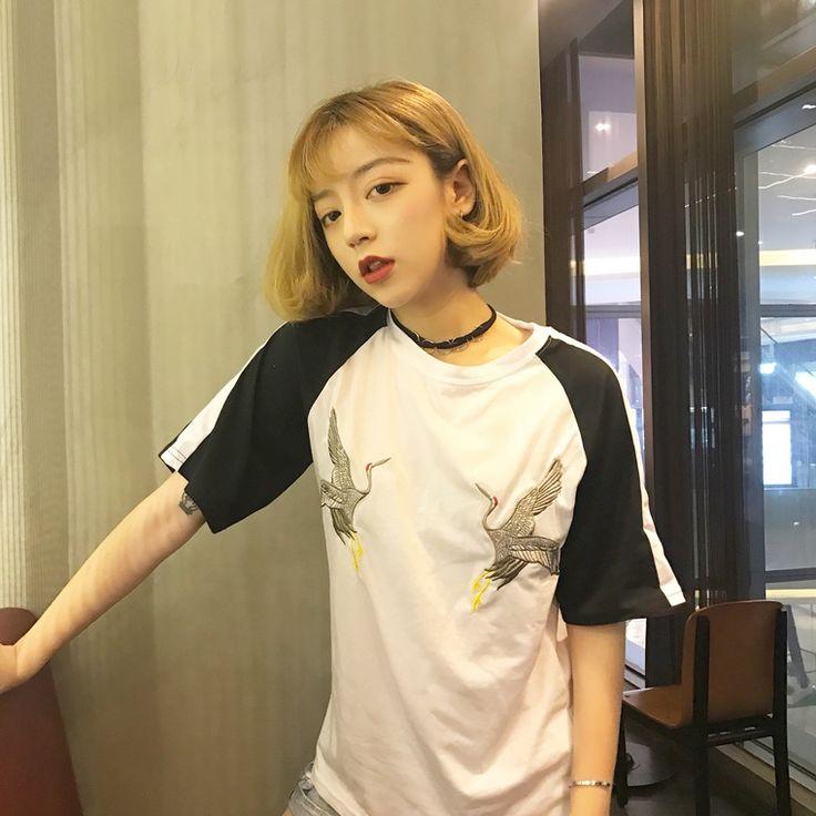 鶴柄刺繍ラグランスリーブトップスカットソー レディース ラグラン 刺繍 Tシャツ