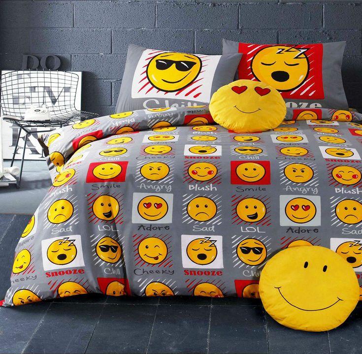 Expressions/Emoji/Tête/Souriant tête/émoticônes/Housse De Couette Set De Literie in Maison, Monde de l'enfant, Literie enfants   eBay