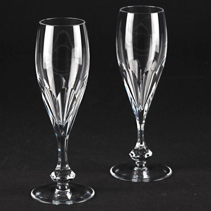 2 Vintage Sektgläser Sektkelche Kristall Gläser Sektglas 18,4 cm Schliff R1O