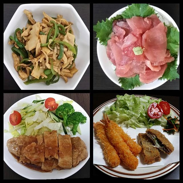最近の夜ご飯🌃🍴 #手抜き料理 #中落ち丼 #揚げ物 #肉 #ピーマンとたけのこのオイスター炒め