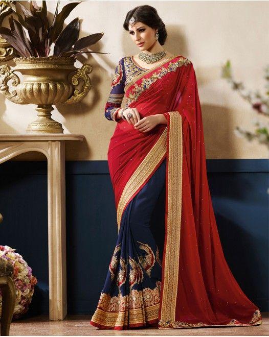 Maroon And Blue Georgette Designer Saree  #designersareeswedding #latestdesignersarees #indiandesignersarees #designersareescouture #designersareesforgirls #designersarees2017 #floraldesignersarees #plaindesignersarees #whitedesignersarees #designersareespartywear #bollywooddesignersarees #simpledesignersarees #vogueindia #lakmefashionweek #bollywood #fashion #shopping #usa #india #indianwear