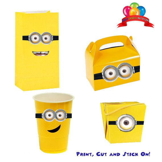 Balloons Despicable Me 2 Birthday Party Supplies INSTANT DOWNLOAD Minion Goggles Printable Labels Stickers Favors,Treat Bags, Invitations on Etsy, $1.99