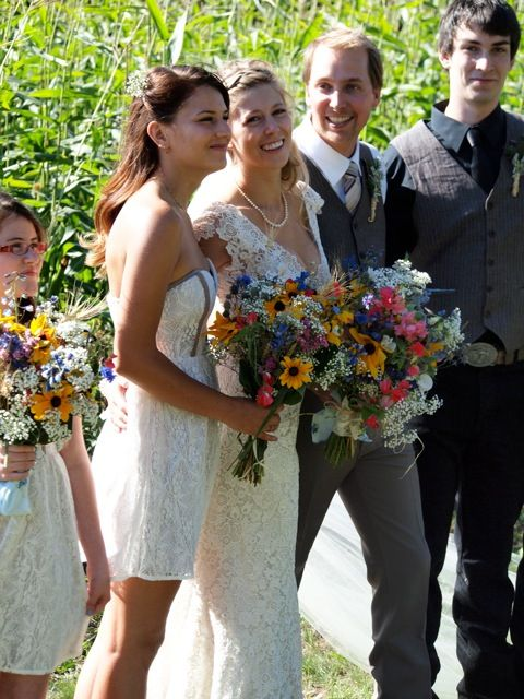 Cornfield make a beautiful backdrop for wedding photos. www.PrairieGardens.org