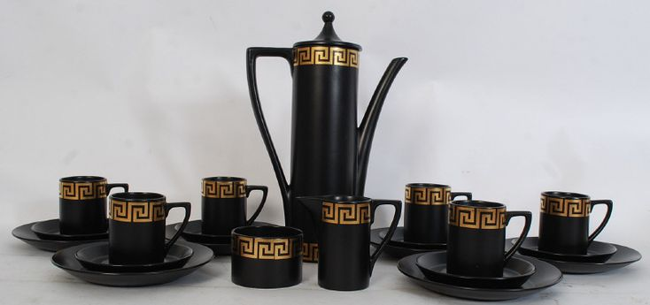 """Lot 964A - Portmeirion Pottery """"Greek Key"""" pattern coffee set, comprising a cylindrical coffee pot, milk,"""