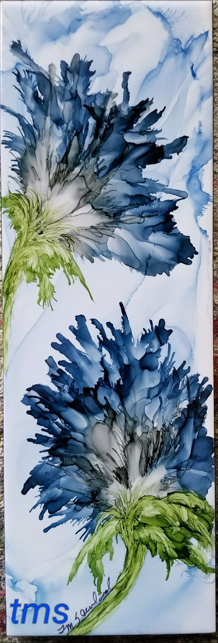 Flowers in alcohol ink on long 12x4 ceramic tile by TINA