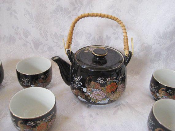 Black Japenese teapot tea set Asian tea set by EndlesslyVintage