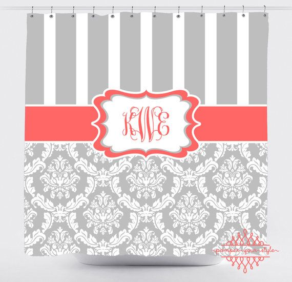 Stripe and Damask Shower Curtain Personalized by PAMPERYOURSTYLE