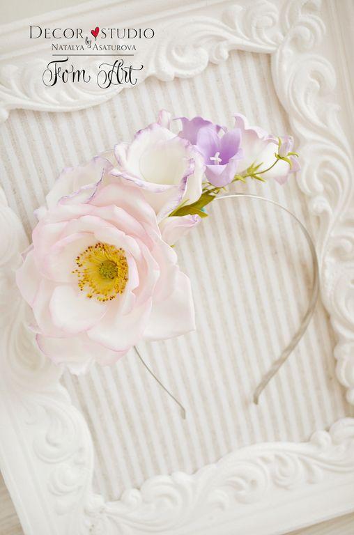 """Купить Ободок """"Цветочные кружева"""" - ободок, ободок для волос, ободок с цветами…"""