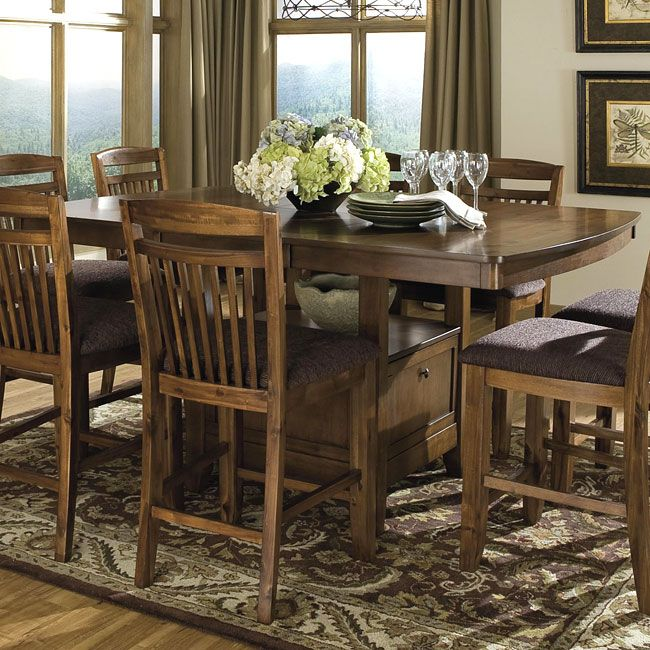 Homelegance Marcel Counter Height Dining Set   Warm Oak   With Storage Base  Table.