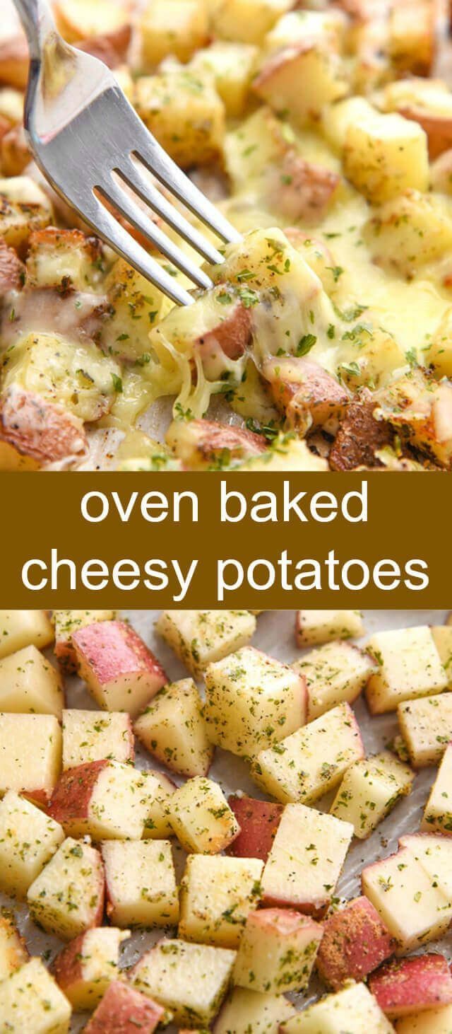 Oven Baked Cheesy Potatoes {A Quick and Easy Side Dish} cheesy/ potatoes/ oven baked Cheesy and delicious these Oven Baked Cheesy Potatoes are quick, easy and are the absolute perfect side dish to any meal! via @tastesoflizzyt