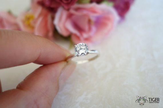 1 carat Engagement Ring 4 Prong Ring Man Made by TigerGemstones, $59.99