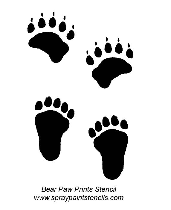 55 best foot prints paw tracks images on pinterest for Bear footprints template