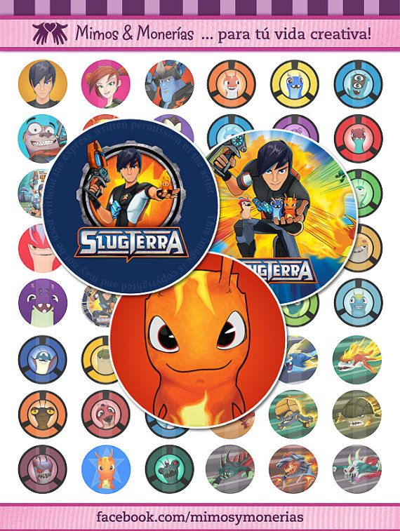 "Slugterra 60 - 1"" Bottle Cap Images - Digital Collage Sheets - Hair Bows, Magnets, Stickers, Bajoterra - INSTANT DOWNLOAD"