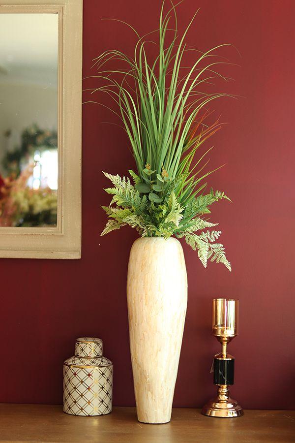 Alam Mailey Kompozycja Sztucznych Roslin W Smuklym Wysokim Wazonie Wys 72cm Home Decor Vase Flowers