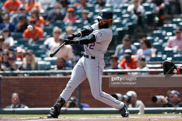Charlie Blackmon #19 of the Colorado Rockies at bat in the first inning against the San Francisco Giants at AT&T Park on April 15, 2017 in San Francisco, California. All players are wearing #42 in honor of Jackie Robinson Day.