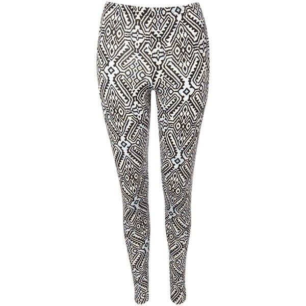 Jane Norman Aztec Leggings ($5.93) ❤ liked on Polyvore featuring pants, leggings, calças, jeans, pantaloni, white, aztec-print pants, tribal print leggings, aztec patterned leggings and tribal print pants