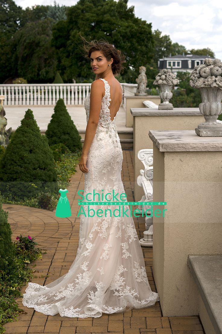 2016 V-Ausschnitt Brautkleider Meerjungfrau mit Applikationen und Perlen Sweep Zug