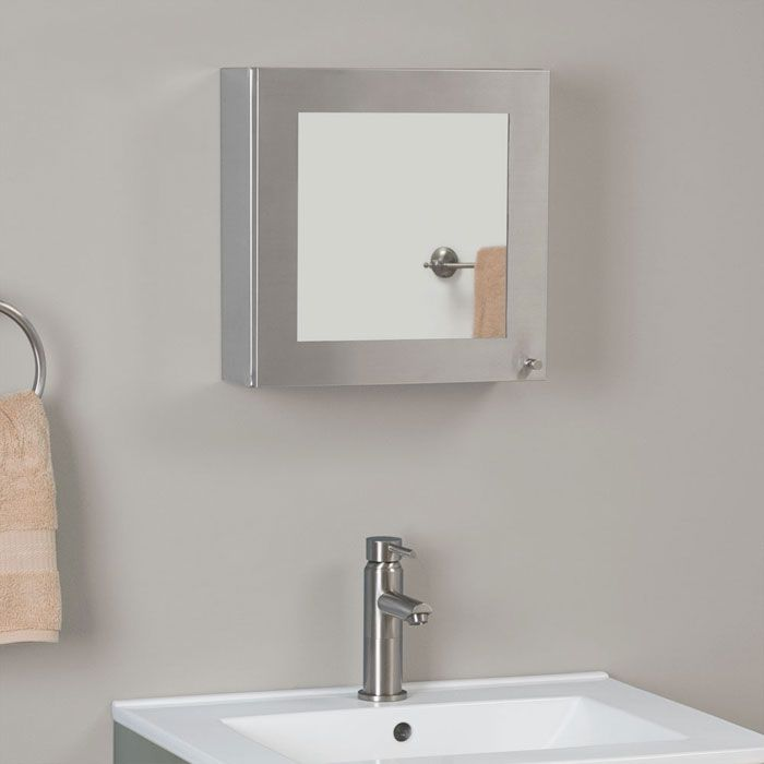 Crosstown Stainless Steel Medicine Cabinet With Inlaid Square Mirror