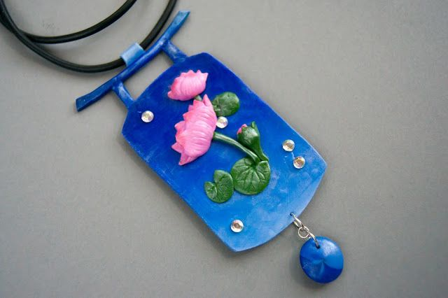 japanese inspirated polymer clay necklace