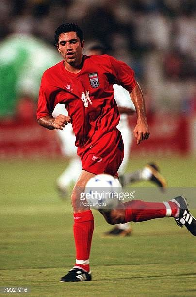 Sport Football 2002 World Cup Qualifier AFC Second Round Group A Jeddah 28th September 2001 Saudi Arabia 2 v Iran 2 Iran's Alireza Vahedinikbakht