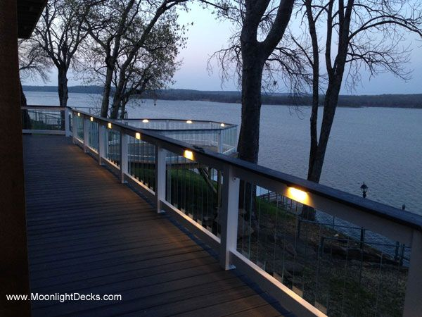 Deck Lighting Using Low Voltage Lighted Post Caps, Under Railing LED Lights,  And Step Lights.