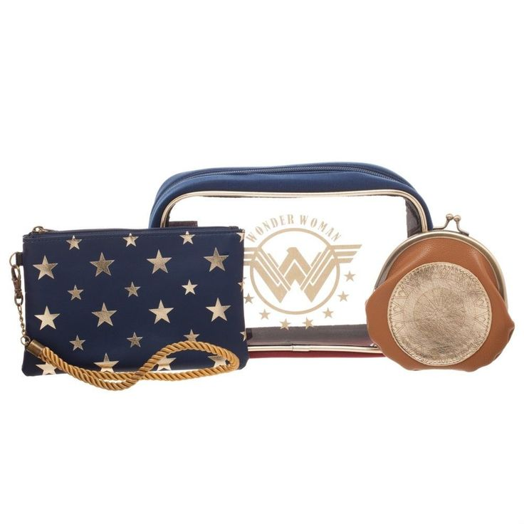 Wonder Woman Cosmetic Bag Gift Set Make Up Case Coin Purse DC Comics Movie JLA #Bioworld