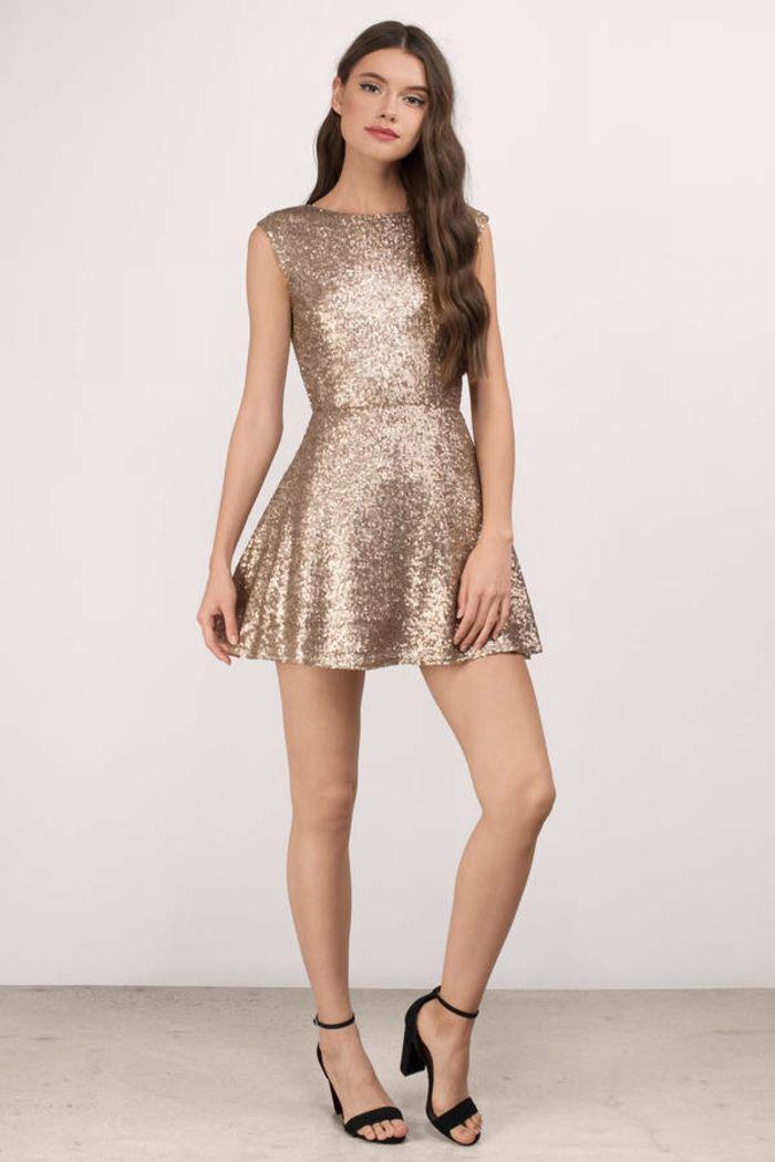 4389955271d Belle robe manche longue robe nouvel an femme bien habillée robe courte  sequine