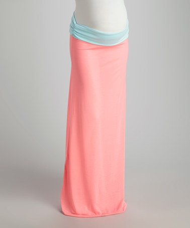 Take a look at this Light Pink & Aqua Over-Belly Convertible Maternity Maxi Skirt by Cant Wait Maternity on #zulily today!