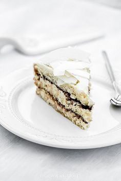 white coconut cake with chocolate
