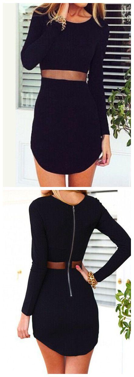 Waist Sheer Black Dress