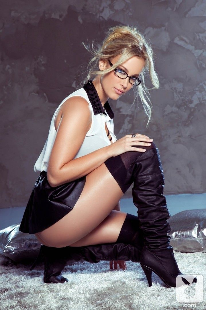 Very Sexy Look With Thigh High Boots And Glasses -6499