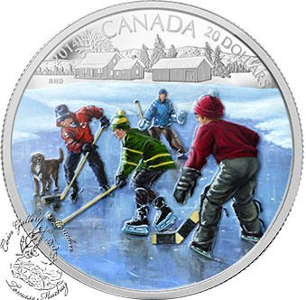 Coin Gallery London Store - Canada: 2014 $20 Pond Hockey Coloured Silver Coin, $99.95