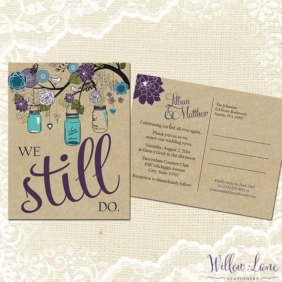 Vow Renewal Postcard - We Still Do -  Green Purple Blue Mason Jar Vow Renewal Invitation Burlap Mason Jar Vow Renewal Invite -5005 PRINTABLE