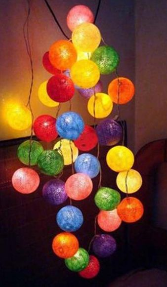 20 Piece Cotton Ball Glow String Lights