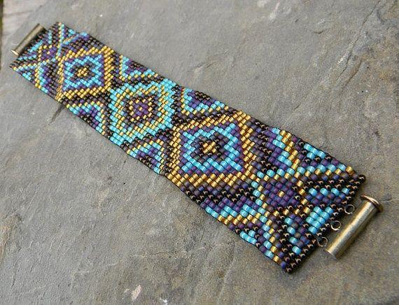 Bead Loom Bracelet Ideas | Loom Beaded Cuff bracelet in purple gold and by Anabel27shop