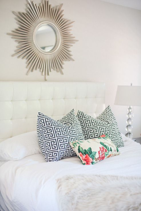 Style Me Pretty   bedroom   white leather tufted headboard  white headboard. Best 25  Mirror over bed ideas on Pinterest   Grey mirrors  Mirror