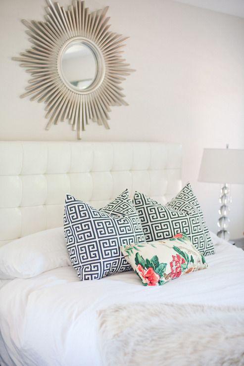 Style Me Pretty - bedroom - white leather tufted headboard, white headboard