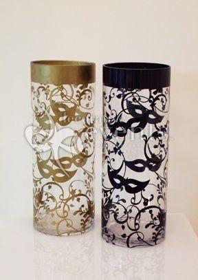 Masquerade Decal on Cylinder Vase