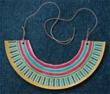 Make your own Egyptian collar with a paper plate. Great art project for my class! And other activities.
