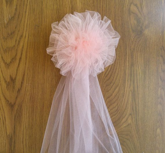 Blush Tulle Pew Bow Pom Tulle Pew Bow by DarlingChicBowtique