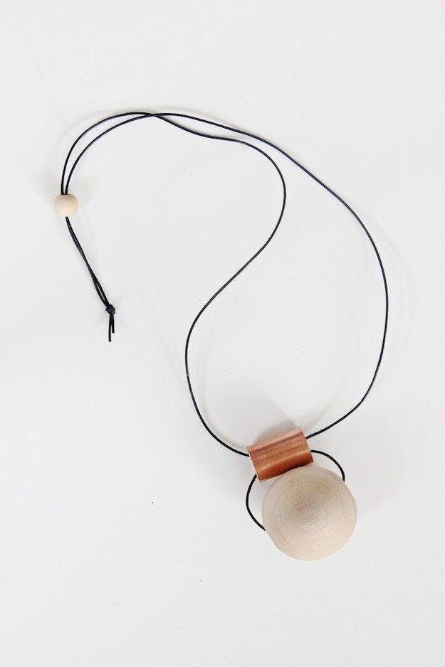 This copper tube and wooden bead necklace is raw, simple, and modern. | The 52 Easiest And Quickest DIY Projects Of All Time