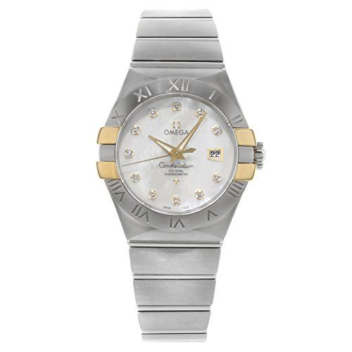 Omega Constellation White Mother of Pearl Diamond Steel and 18K Yellow Gold Ladi...