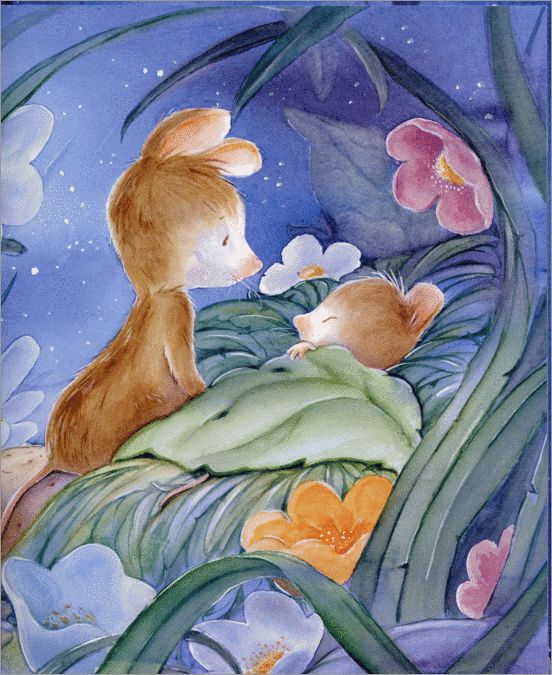 Sleeping friend. Flowers, mice, sweet dreams, night, stars. Sheridan Cain