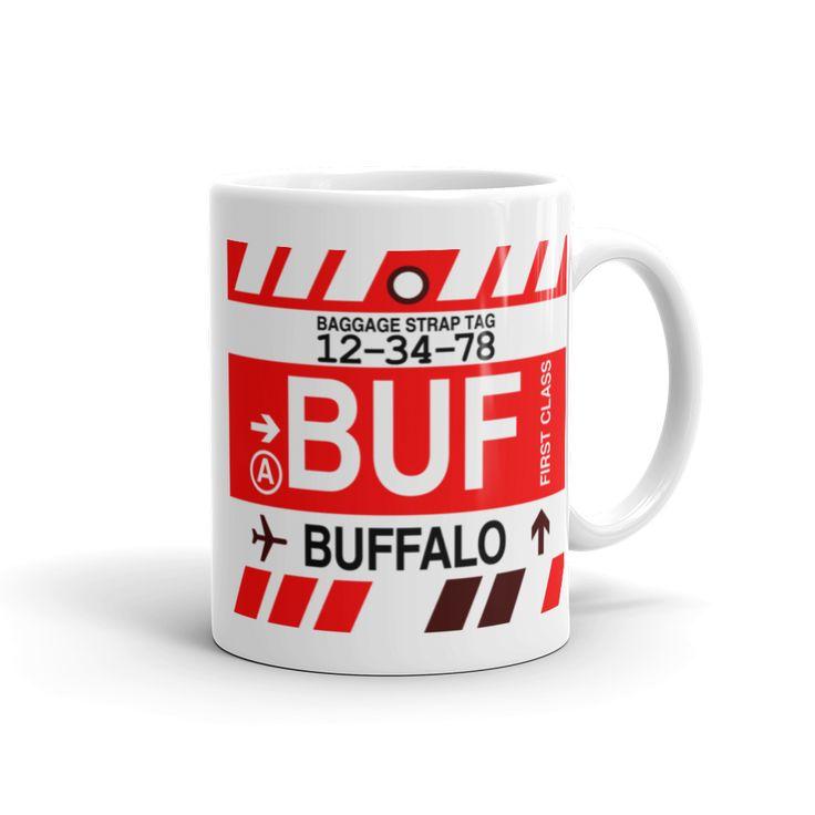 BUF Buffalo Airport Code Baggage Tag Mug