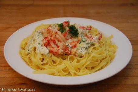 Recept - Pasta med vitlök & kräftstjärtsås