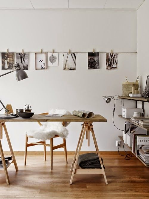 Workspace in soft neutral tones