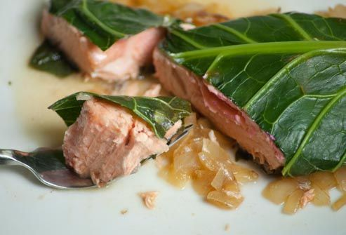 salmon steamed in collards